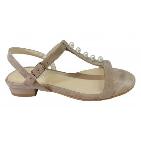 béžové kožené sandálky s perličkami SAGAN 3200
