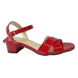 červené lakované kožené sandály na širokém podpatku SAGAN 3206