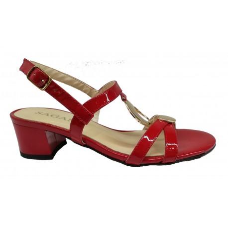 červené lakované kožené sandály na širokém podpatku SAGAN 2933