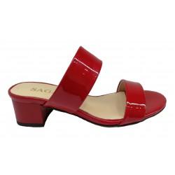 červené lakované kožené pantofle na širokém podpatku SAGAN 2553