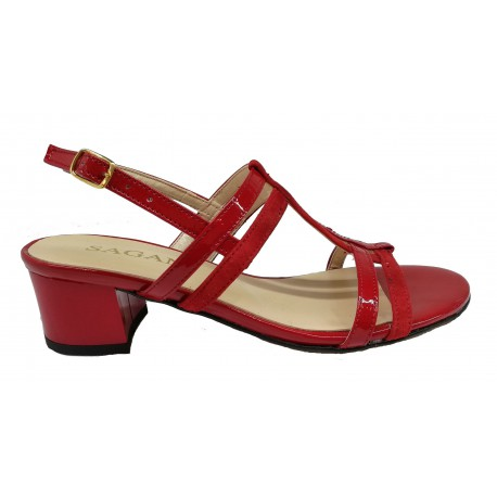červené kožené sandály na širokém podpatku SAGAN 2930