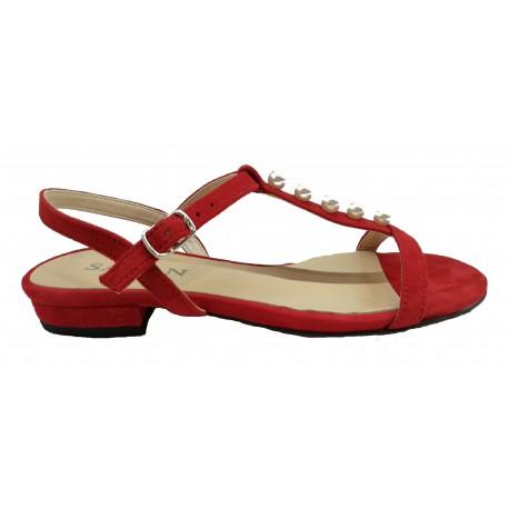 červené kožené sandály s perličkami SAGAN 3200