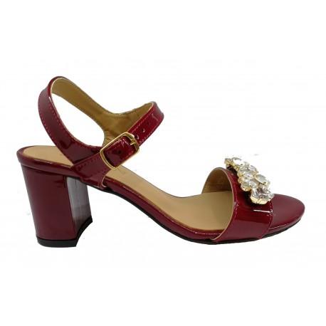 bordó kožené lakované zdobené sandály SAGAN 3214