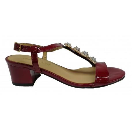 bordó kožené lakované zdobené sandály SAGAN 2887