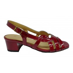 bordo lakované kožené sandály na širokém podpatku SAGAN 2070