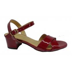 bordo lakované kožené sandály na širokém podpatku SAGAN 3206