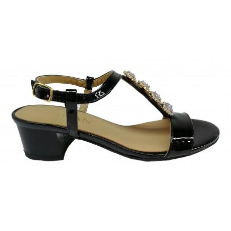 černé lakované zdobené kožené sandály na širokém podpatku SAGAN 2887