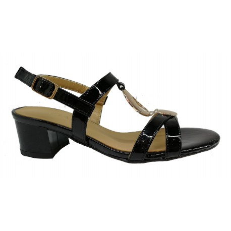 černé lakované kožené sandály na širokém podpatku SAGAN 2933