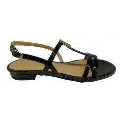 černé lakované kožené sandály SAGAN 2936