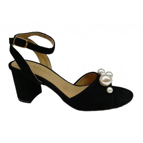 černé kožené sandály s perličkami na širokém podpatku SAGAN 3241