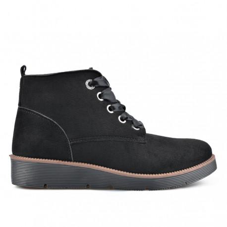 černá šněrovací kotníková obuv TENDENZ QMW18-018
