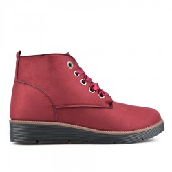bordó šněrovací kotníková obuv TENDENZ QMW18-018