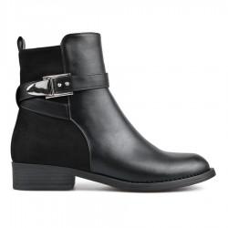 černá kotníková obuv s ozdobnou sponou TENDENZ REW18-017