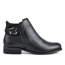 černá kotníková obuv s ozdobnou sponou a cvoky TENDENZ MIW18-011