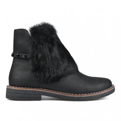 černá kotníková obuv s ozdobným kožíškem TENDENZ REW18-031