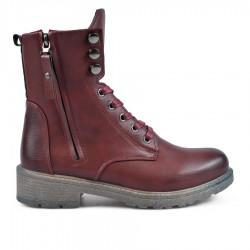 bordó šněrovací kotníková obuv se zipem TENDENZ QMW18-048