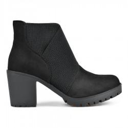 černá kotníková obuv se vsazenými gumami na širokém podpatkuTENDENZ REW18-021