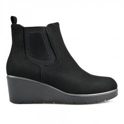 černá kotníková obuv na klínu TENDENZ REW18-030