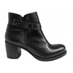 černá kožená italská kotníková obuv na širokém podpatku Riccianera ZA05
