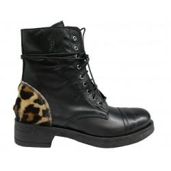 černé kožené italské polokozačky s leopardím vzorem Luisa Miranda Anfibio