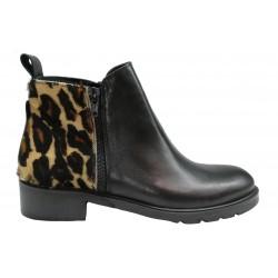 černá kožená italská kotníková obuv s leopardím vzorem Luisa Miranda TR20