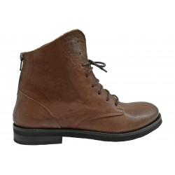 hnědá kožená italská kotníková šněrovací obuv Riccianera 53R07