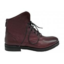 bordó kožená italská kotníková šněrovací obuv Riccianera 53R07