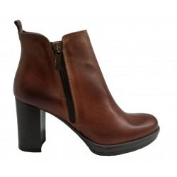 hnědá kožená italská kotníková obuv na širokém podpatku Riccianera N407
