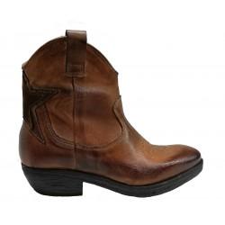hnědé kožené italské western boty Riccianera west