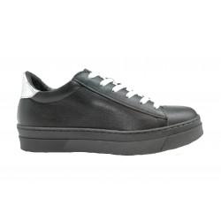 černo-stříbrné kožené tenisky na platformě Matisa 05-3