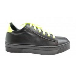 černo-neonově žluté kožené tenisky na platformě Matisa Shoes Matisa 05-4