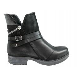 černá kožená stylová kotníková obuv Once 8888