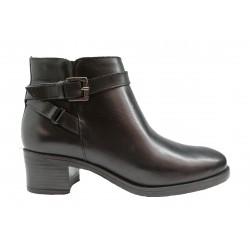černá kožená italská kotníková obuv na širokém podpatku Oroscuro  4531760