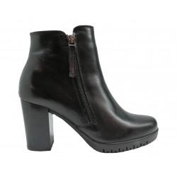 černá kožená italská kotníková obuv na širokém podpatku Oroscuro  6471752