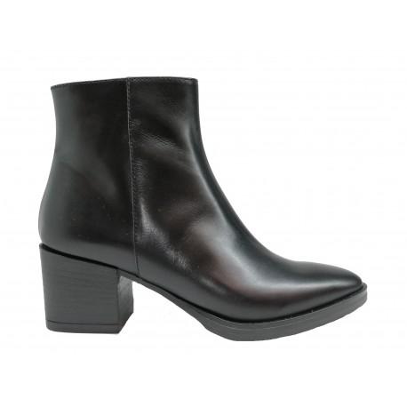 černá kožená italská kotníková obuv na širokém podpatku Oroscuro 8A90