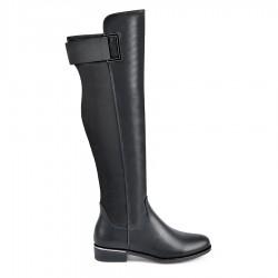 černé vysoké kozačky nad kolena Tendenz REW18-008