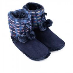 Modré teplé domácí papuče s bambulkami Tendenz PTW17-019