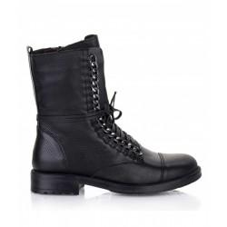 černé kožené vzorované stylové polokozačky Bari TOP65