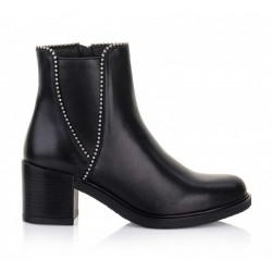 černé kožené elegantní polokozačky Bari Megan01