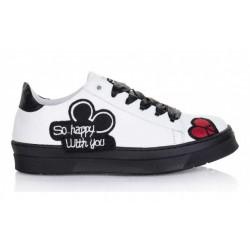 bílo-černé kožené tenisky s nášivkami na platformě Matisa Shoes Matisa04