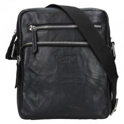 pánská  černá kožená taška přes rameno (crossbody) se dvěmi kapsičkami na zip v přední části 222-1