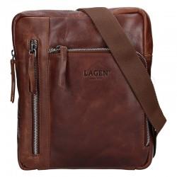 pánská  hnědá kožená taška přes rameno (crossbody) se dvěmi kapsičkami na zip v přední části 222-5