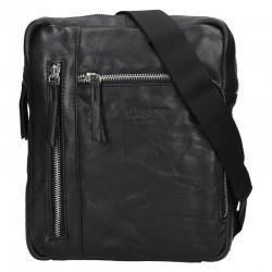 pánská  černá kožená taška přes rameno (crossbody) se dvěmi kapsičkami na zip v přední části 222-5
