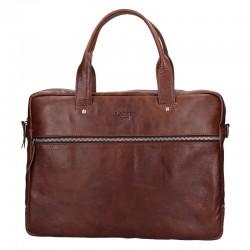 pánská  hnědá kožená aktovka (taška přes rameno) 333-1