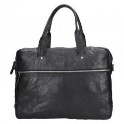 pánská  černá kožená aktovka (taška přes rameno) 333-1