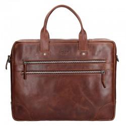 pánská  hnědá kožená aktovka (taška přes rameno) se dvěmi kapsičkami na zip v přední části 333-2