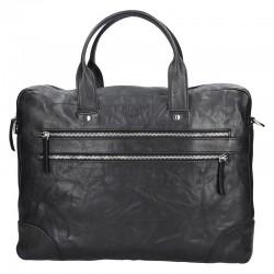 pánská  černá kožená aktovka (taška přes rameno) se dvěmi kapsičkami na zip v přední části 333-2