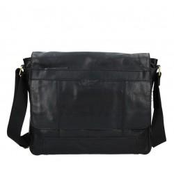 pánská černá kožená taška přes rameno LN-22012