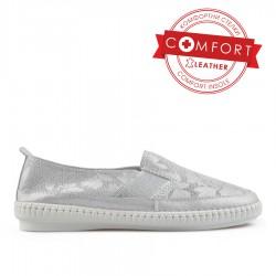stříbrná kožená slip on obuv TENDENZ NTS19-020