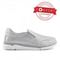 stříbrná kožená slip on obuv TENDENZ NTS19-023